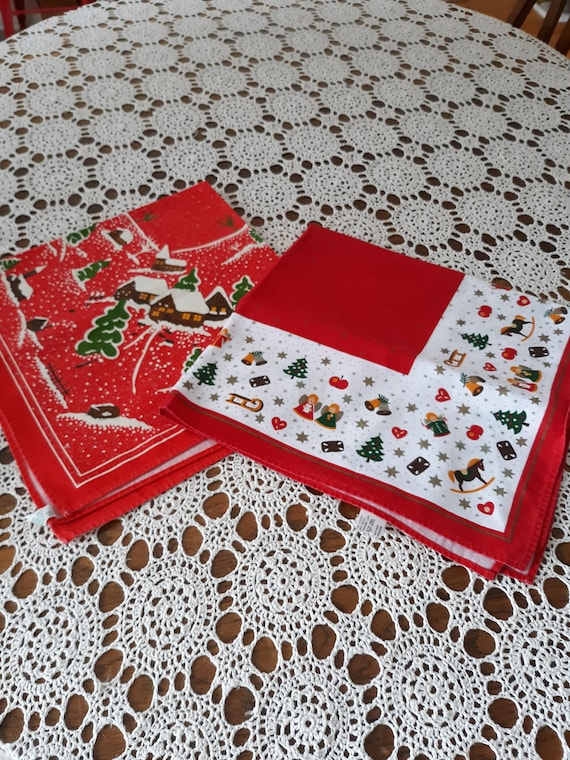 Small German Christmas table covers-2 available-red cloth table squares with winter holiday designs-bright red