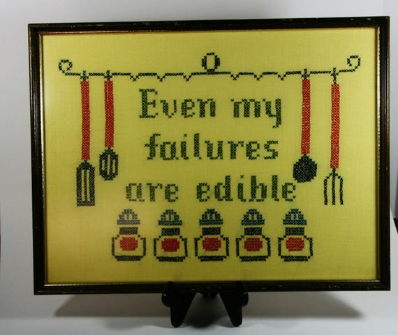 Framed Kitchen Cross Stitch Even My Failures Are Edible Vintage