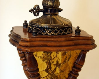 Gothic table lamp- amber crackle glass-coach light lamp-spanish-retro-large and heavy vintage lamp