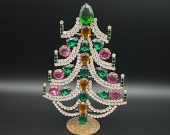 AMAZING VINTAGE JEWELRY Vintage Rhinestones Jewelry Crystals Christmas Tree, Czech Rhinestone Tree, jeweled tree