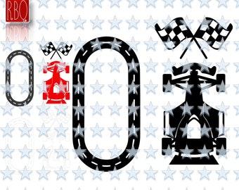 Race Track Car Birthday Boy Racecar Racetrack Flag Cut File Digital Download SVG Eps DXF Pdf PNG Jpeg Vector Commercial Use