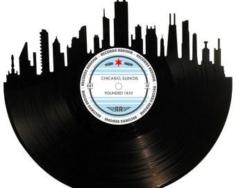 Chicago Skyline Records Redone Label Vinyl Record Wall Art - Unique Gift - Birthday Holiday Christmas Wedding