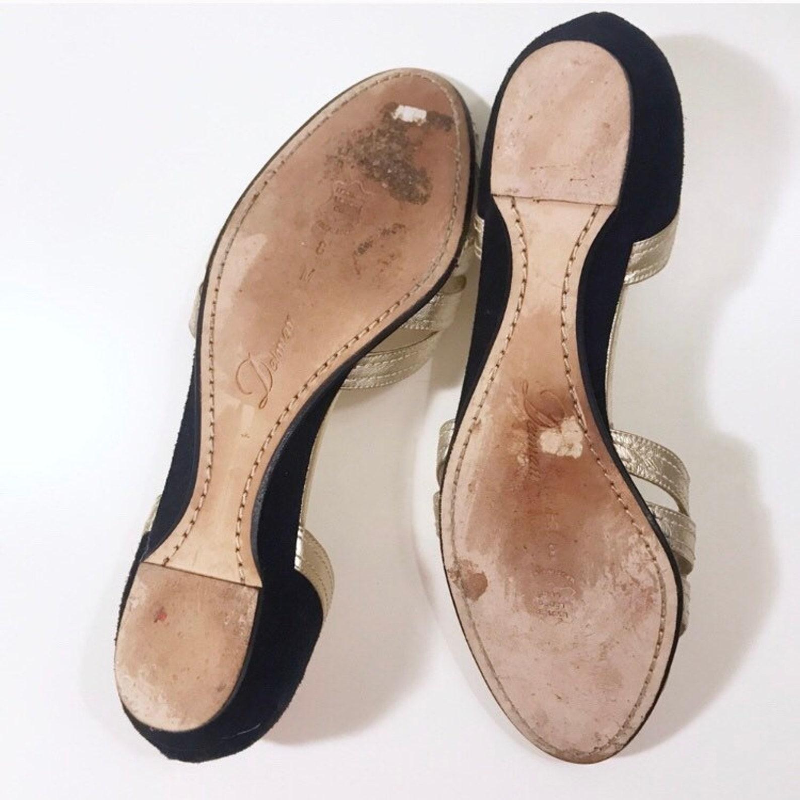 vintage delman peep toe, gold & black ballet flats