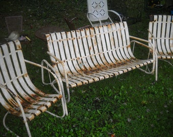 Vintage Metal Slat Band Porch Glider And 2 Chairs