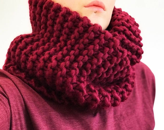 Featured listing image: Handmade Knitted Wool & Alpaca Infinity Scarf in Oxblood/ Crimson