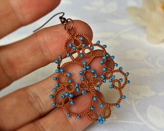 Golden mustard tatting lace earrings made in Italy//tatted lace earrings//denim//chandelier earrings //beaded earrings//beadwork//frivolitè