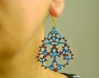 Denim tatting lace earrings made in Italy//Denim and Brown//tatted lace earrings//chandelier earrings //beaded earrings//beadwork//frivolitè