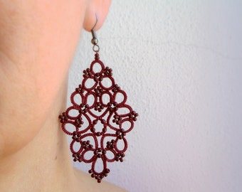 Marsala tatting lace earrings made in Italy | tatted lace earrings | tatting jewelry | beaded earrings | beadwork | made to order
