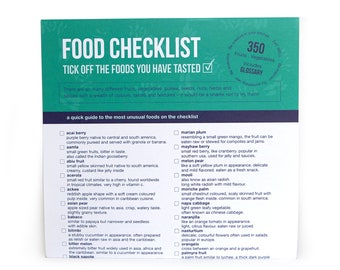 Food Vegetable Checklist Mini Poster