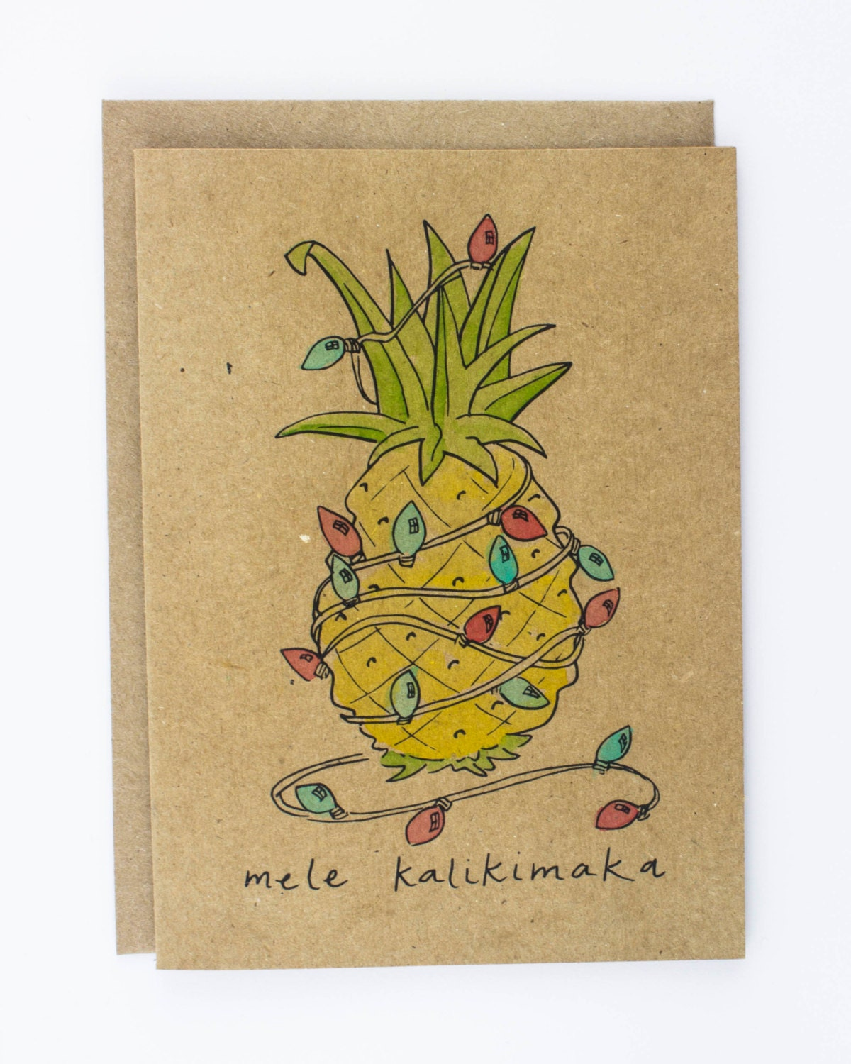 Mele Kalikimaka Pineapple Hawaii Illustrated Christmas Card, Greeting Card