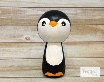 Penguin Kokeshi Peg Doll