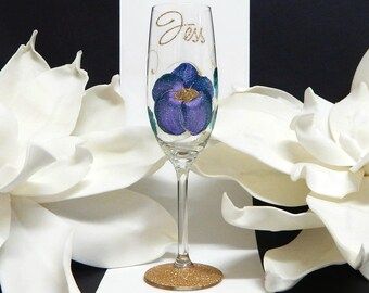 Personalised Purple Flower Champagne Glass Gift For Her | Any Occasion