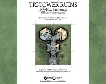 Tri-Tower Ruins Digital Download Printer-Ready Tabletop RPG Hex Battle Map