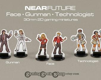 Modern/Near-Future Face, Gunman & Technologist 2D 30mm Gaming Miniatures