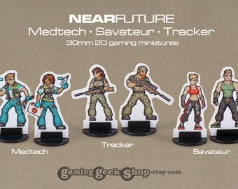 Modern/Near-Future Medtech, Savateur & Tracker 2D 30mm Gaming Miniatures