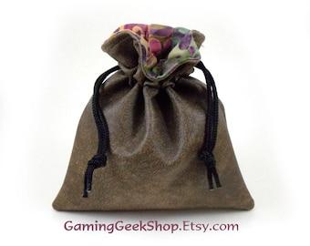 Sable Faux Leather / Purple Gold Green Swirls Batik / Drawstring Pouch