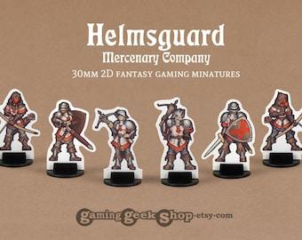 Helmsguard Human Mercenaries 2D 30mm Fantasy Gaming Miniatures
