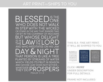 Psalm 1 Print. Christian wall art. Man gifts. Mens gift. Father's Day Present. Birthday. FREE US Ship. Blessed is the... Artwork. Scripture