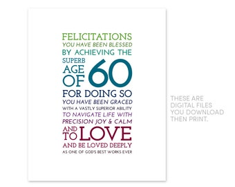 60th Birthday Printables Gift Special Friend GIft Christian Inspirational 1958 60 Years Old Sixtieth Gifts Baby Boomer