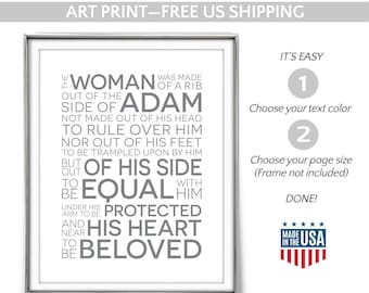 """God, Adam & Eve, Rib. Art PRINT. Scripture Matthew Henry Commentary. """"The woman was made of a rib out of the side.."""" Engagement Wedding Gift"""