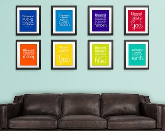 8x10 Beatitudes Wall Art PRINTABLES. Matthew 5.Eight Individual files. Full Series Jesus Sermon on the Mount, Blessed Are. Digital Download