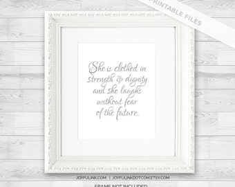 Proverbs 31 Printable Bible verse art. Nursery Scripture Wall Art Print. Poster Decor. Proverbs 31:25 She is clothed in strength and dignity