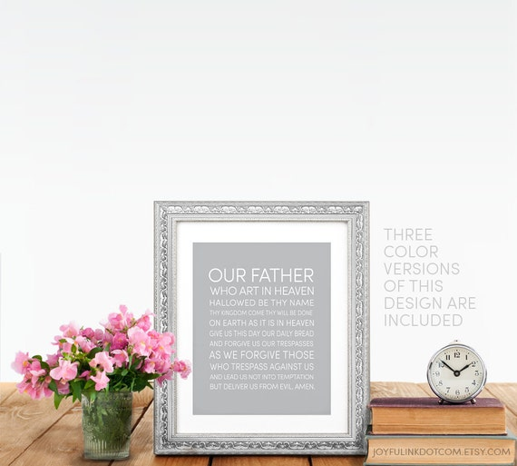 Our Father Prayer Art  Lords Prayer  Catholic / Christian Printables (Files  you print yourself) 8x10  3 Color Versions You Can Download