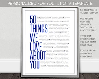 50 Things We Love About You Printable NOT a Template. Personalized 50th Birthday Poster for Women Digital Download I personalize - You print