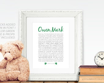 Irish Blessing Baptism Gift for Catholic baby. First Communion. Christening. Download or Printed. Shamrocks optional. May all the blessings