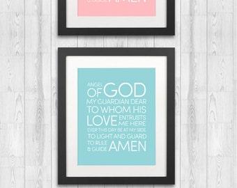 Guardian Angel Prayer Sign. Nursery Prayer. Childrens Art Printable 3 colors. Angel of God my guardian dear to whom his love entrusts