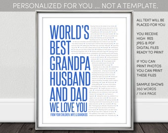 World's Best Dad Gift. Printable. Personalized for you. NOT a Template. Husband, Grandpa. Birthday. Fathers Day. I personalize. You print.