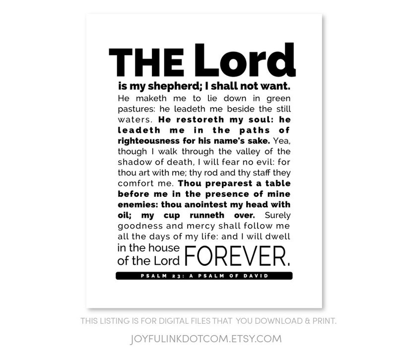 photo about The Lord's Prayer Kjv Printable titled Scripture PRINTABLE Psalm 23 KJV The Lord is my shepherd; I shall not will need. He maketh me toward lie down in just eco-friendly pastures: he leadeth me beside