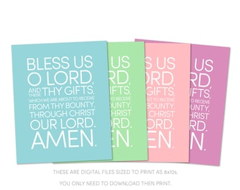Bless us O Lord, and these Thy gifts, Dinner Prayer Catholic Kids Art Printables. Christian Nursery Art. Digital Download in 4 colors.