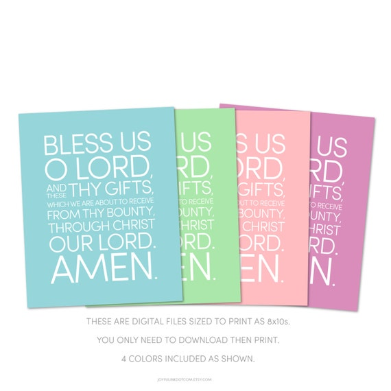 bless us o lord and these thy gifts dinner prayer catholic etsy