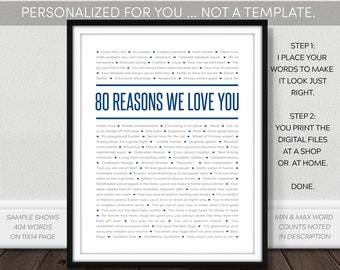 80 Reasons Why We Love You Printable. Digital Download. For Dad Mom Grandpa. NOT a Template. 80Th Birthday - 1939. I Personalized. You Print