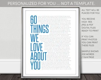 60 Things We Love About You Printable. NOT a Template. Personalized Digital Download. 60Th Birthday. I personalize - You print
