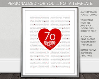 70, 60, 40 Reasons We Love You. / Things We Love About You. NOT a Template. Choose either digital (JPEG) printable, or shipped print.