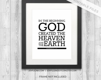 """Bible Verse Art Genesis 1:1 Scripture Christian Wall Decor Poster Inspirational Quote Wall Art """"In the beginning God created the heaven ..."""""""
