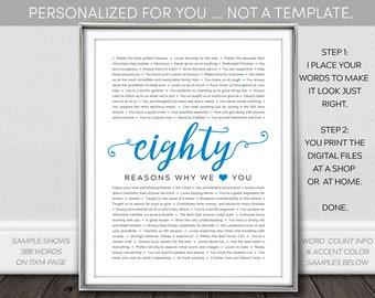 80 Reasons We Love You PRINTABLE - 80th Birthday Gift for Men / Women. Personalized NOT Template Digital Download. I personalize You print