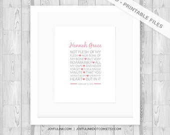 Baby Adoption Art. Gotcha Day. Not flesh of my flesh, nor bone of my bone but very remarkably, all my own. Personalized PRINTABLE Baby Girl.