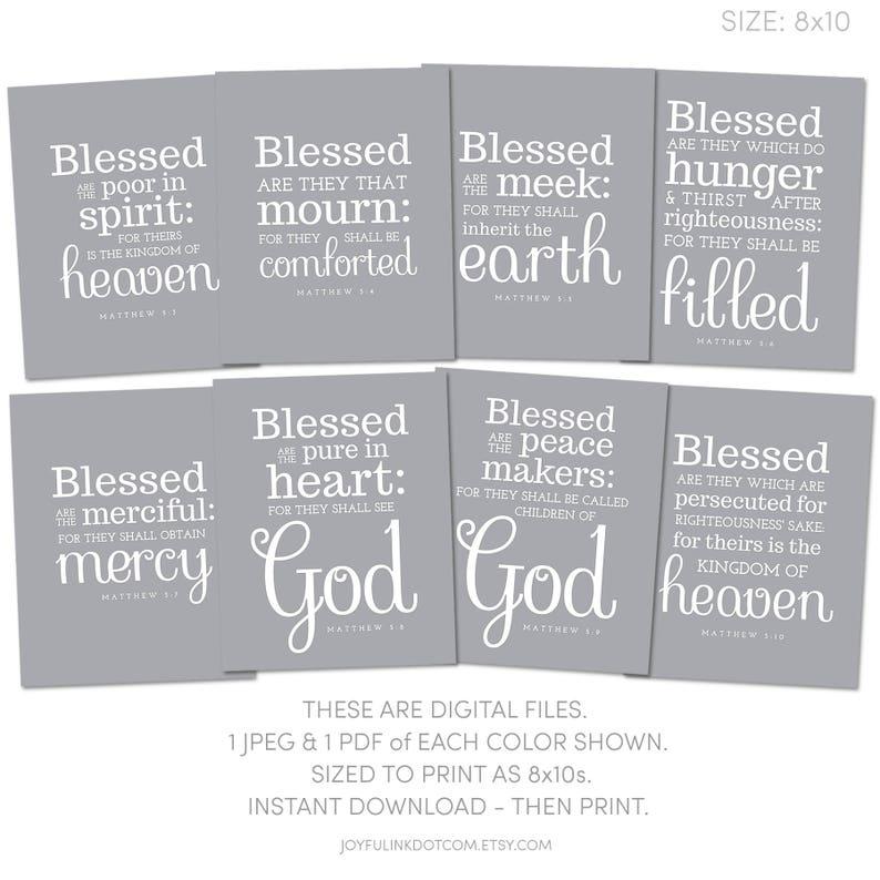 53dcfba1e066 Beatitudes Printable Set. 8x10 size. Matthew 5 Scripture Wall