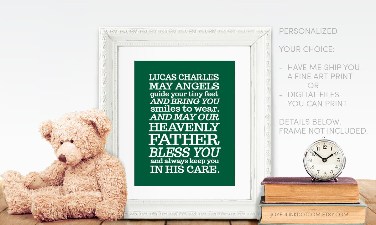 Baptism Printable Prayer for Baby Boy  Personalized Irish Blessing  PRINTED  or DIGITAL  May angels guide your tiny feet and bring you