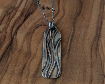 Copper and Silver Rectangle Pendant w/ Chain
