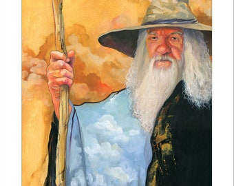 "8x10 Print ""The Sky Wizard"" - Fantasy Art Illustration Reproduction"