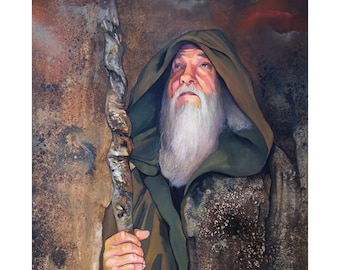 "Wizard Print - ""Between the moments"" - 8x10 Fantasy Art Reproduction"