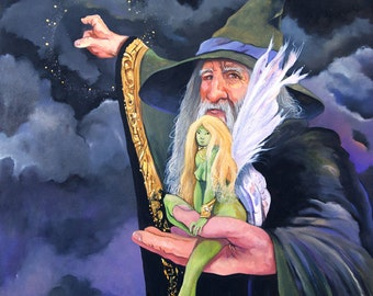 "Fantasy Art Painting ""The Green Fairy"" - 20 x 16 Framed Original Oil Painting"