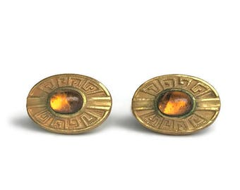 Item on HOLD for Jonathan Goodwin -- Antique Gold Amber Glass Cufflinks - Egyptian Revival 1176