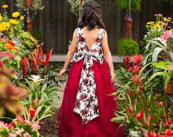 Lucinda Red Rose Floral Bow Tank Sleeve Ankle Floor Length Flower Girl Wedding Communion Dress Gown
