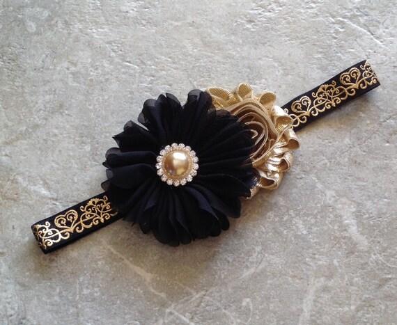 Black gold headband newborn headband baby headband baby  3b30a5cba87