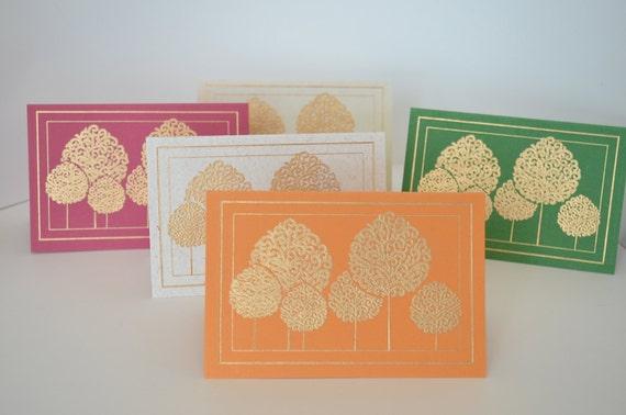 Gold Tree Handmade Blank Greeting Card Set Indian Wedding Etsy